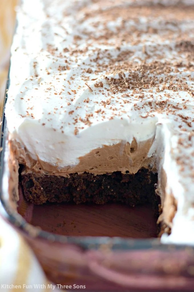 pan of French Silk Pie Brownies with a slice taken out