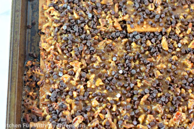 mini chocolate chips sprinkled over the toffee