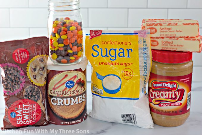 ingredients to make No Bake Reese's Peanut Butter Bars