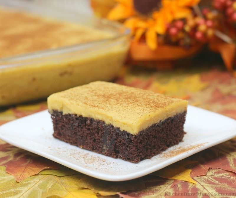 Pumpkin Chocolate Texas Sheet Cake Recipe on a serving plate.