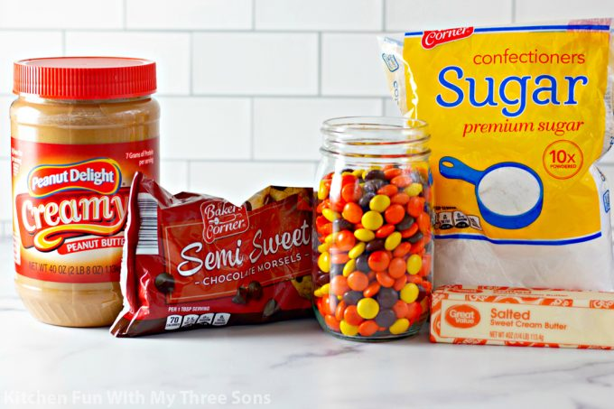 ingredients to make Reese's Peanut Butter Chocolate Bark