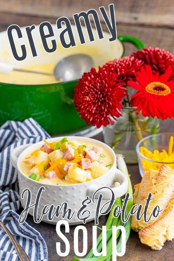 pinterest image for ham potato soup