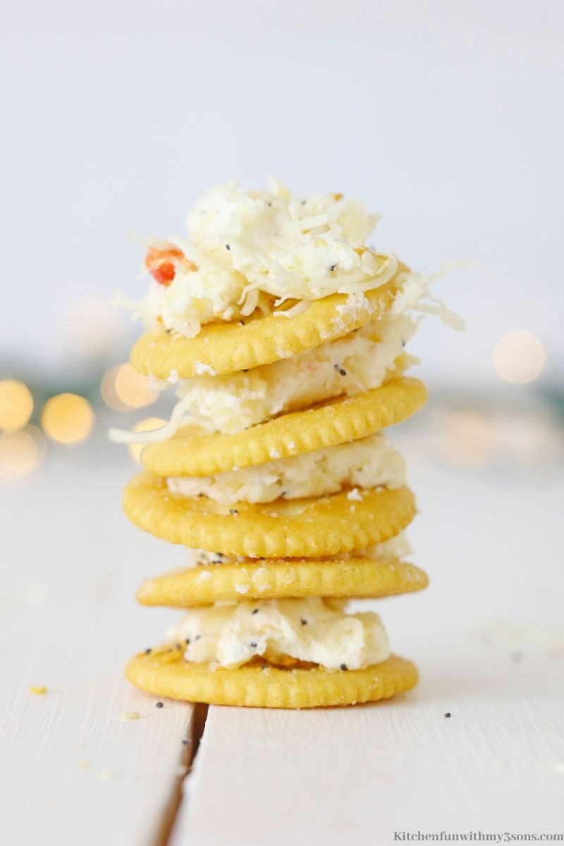 Cheese crackers stacked on top of each other.