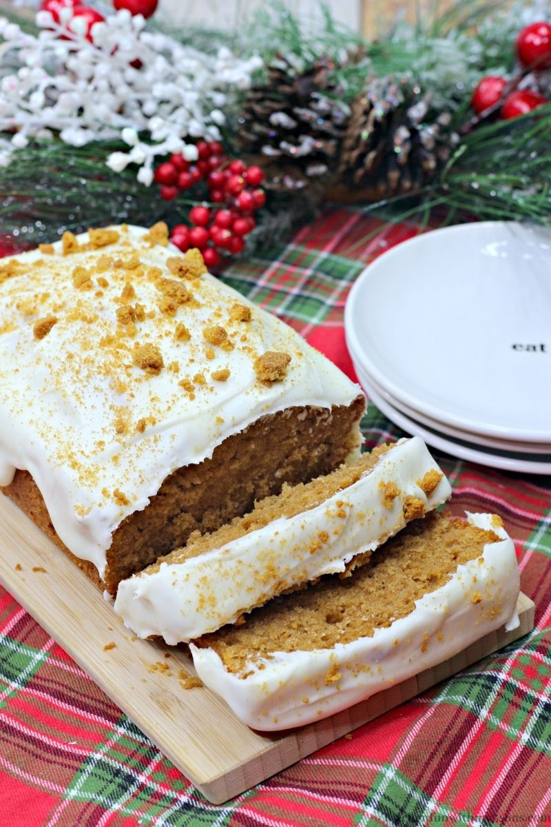 The Best Gingerbread Loaf Recipe on a wooden platter.