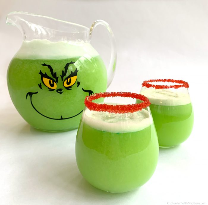 Grinch Punch is a fun family drink to make with the kids at Christmas. All you need is four ingredients and about 2 minutes.