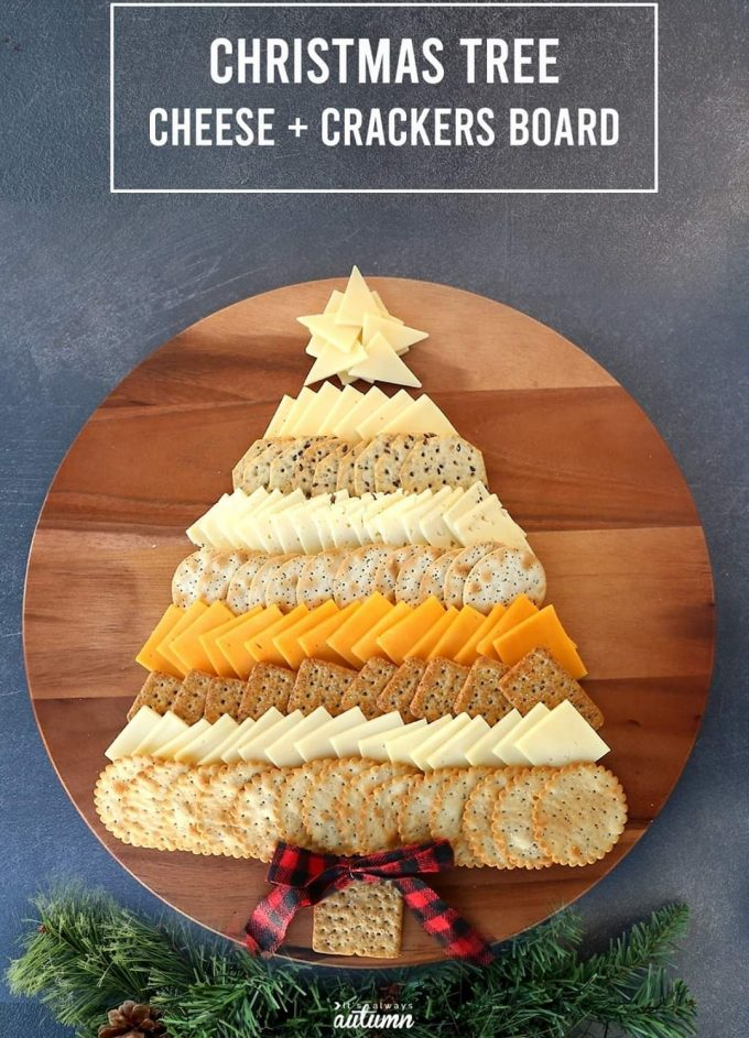 Christmas Tree Cheese and Crackers Board