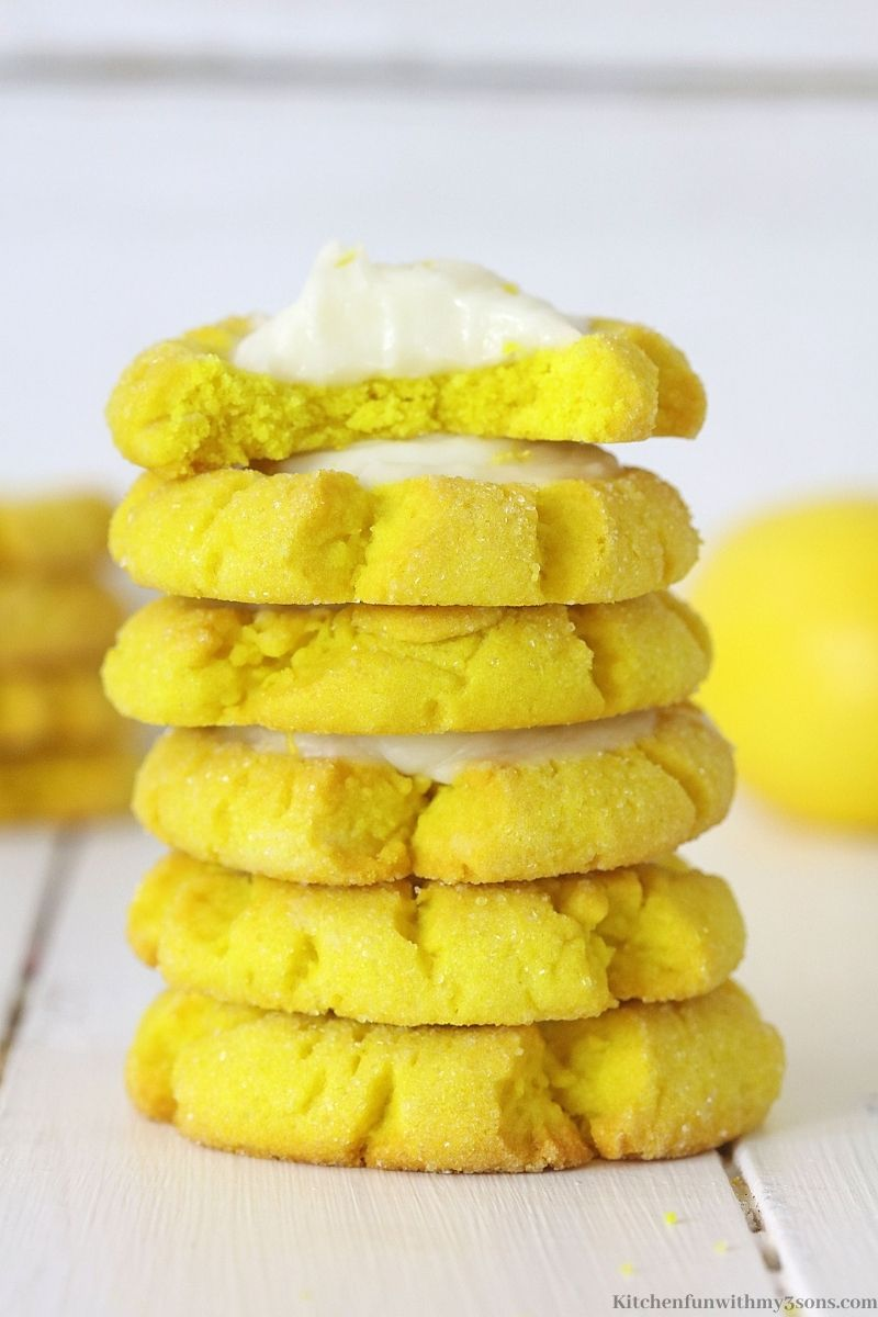 Lemon sugar cookies stacked on top of each other.