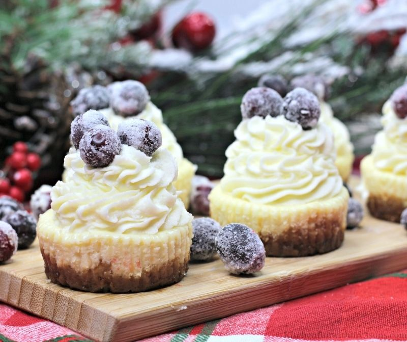 Sugared Cranberries Easy Mini Cheesecakes with snow frosted decorations in the back.