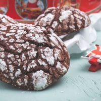 Chocolate Rum Crinkle Cookies