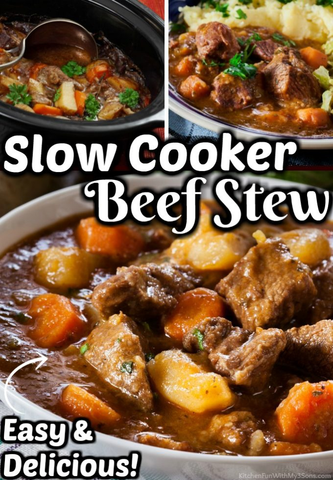 Slow Cooker Beef Stew is a cold weather favorite. With pan-seared beef, Yukon potatoes, onions, carrots and garlic in a creamy beef broth, this dinner will warm everyones bellies.