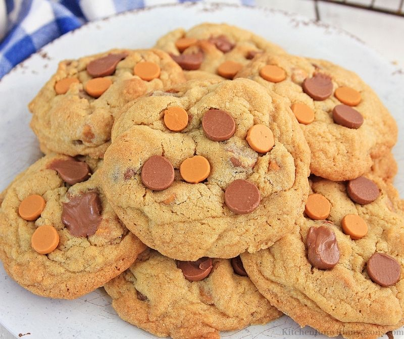 Chocolate Chip Butterscotch Cookies on a serving plate.