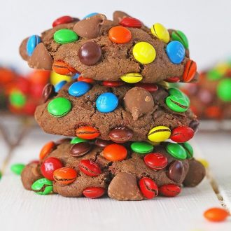 Loaded Chocolate M&M Cookies