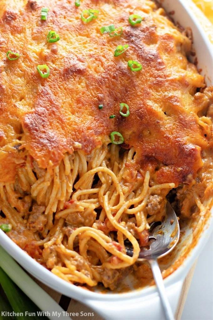Cheesy Taco Spaghetti with a spoon