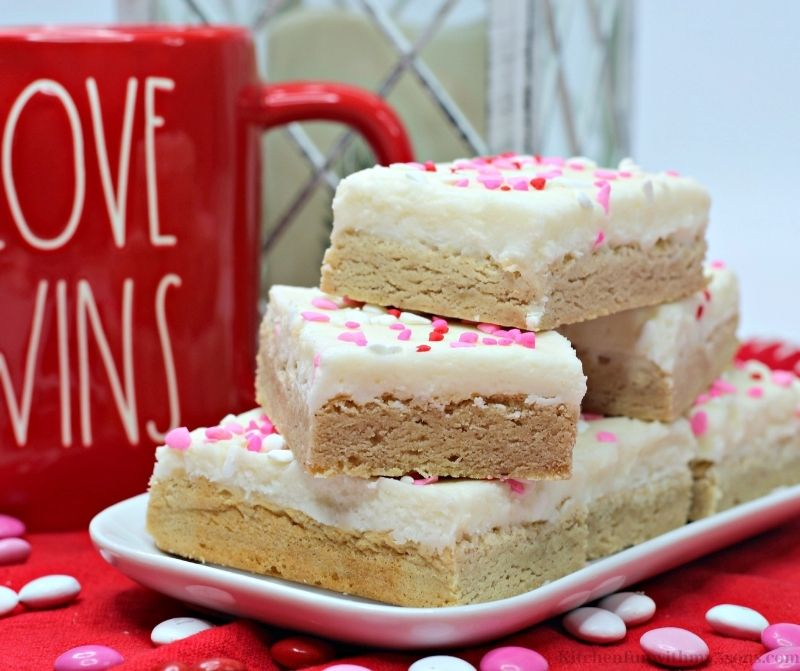 Valentine's Day Snickerdoodle Cookie Bars on a white platter.