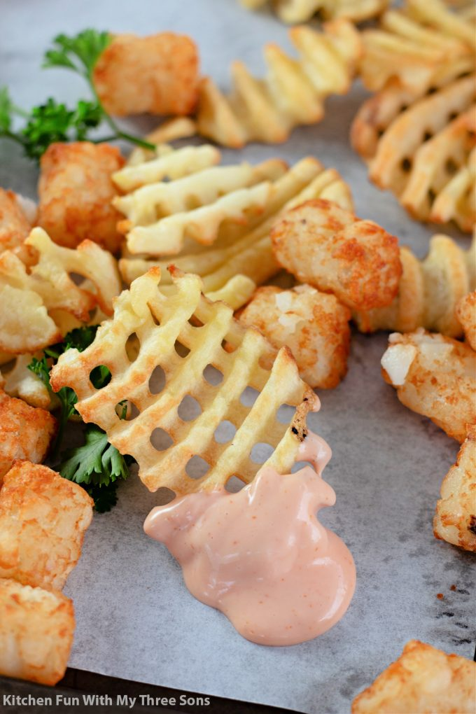 waffle fry with fry sauce.