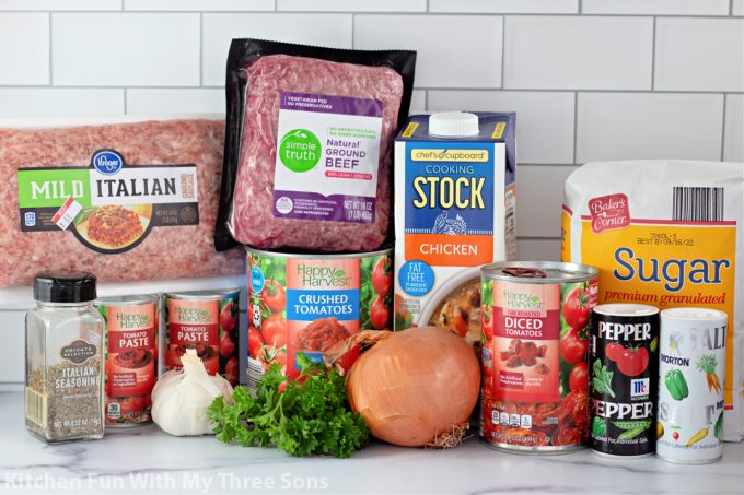 ingredients to make The Best Homemade Meat Sauce