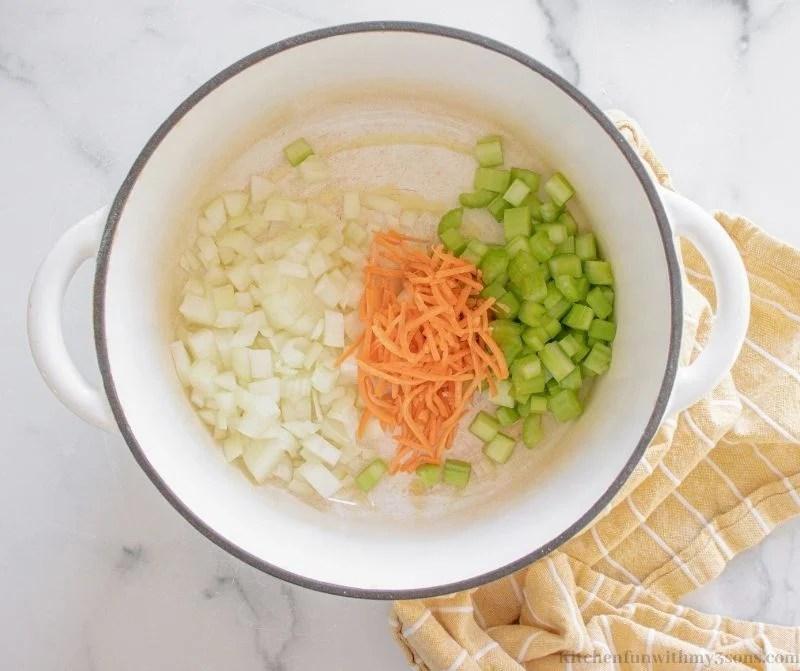 All the veggies in a pot.