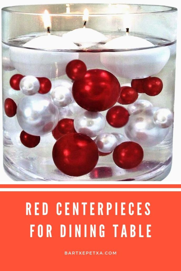 red centerpieces for dining table