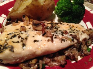 Mahi Mahi with sauteed mushrooms