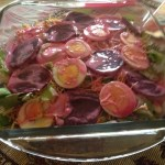 Pink Seven Layer Sweet Pea & Beet Salad