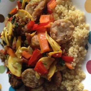 Spicy and Sweet Vegetable and Chicken Quinoa