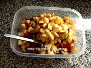 Apple and strawberry pieces