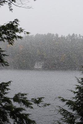 Snowing across Lake Rosseau Oct 11, 2009