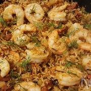 Rijst met garnalen, chorizo en venkel