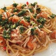 Spaghetti met rivierkreeftjes en gremolata