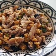 Pastasalade met makreel, snijbonen en basilicum