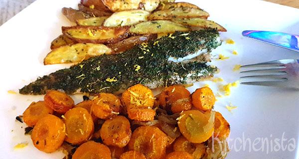 Alles uit de oven: kabeljauw, wortel en aardappeltjes
