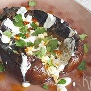 Geroosterde aubergine met feta, za'atar en yoghurt