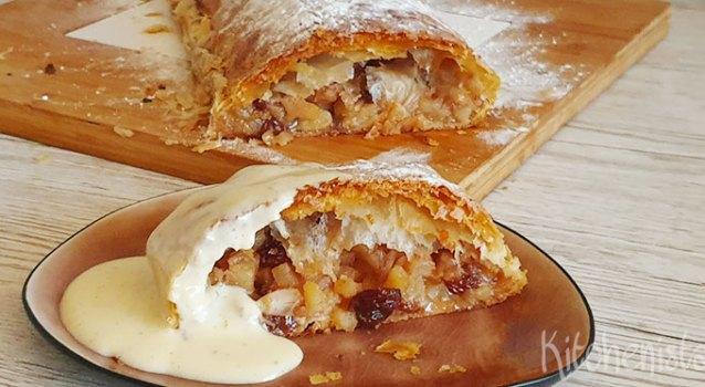 Makkelijke apfelstrudel met warme vanillesaus