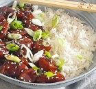 Vegan Mongolian beef van seitan met rijst