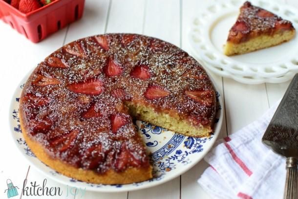 Strawberry Rhubarb Upside Down Cake - Kitchen Joy