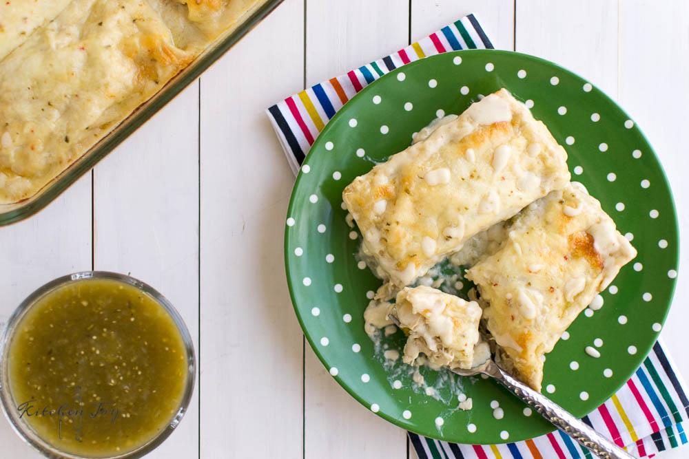 Salsa Verde Chicken Enchiladas With White Sauce Kitchen Joy