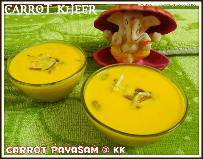carrot kheer or carrot payasam