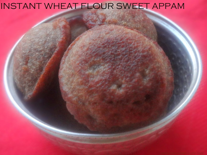 instant wheat flour sweet appam