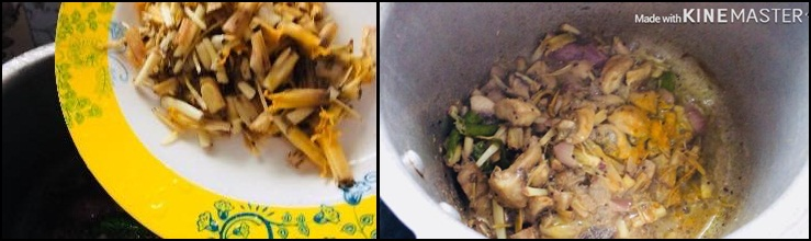 mushroom vazhaippoo gravy