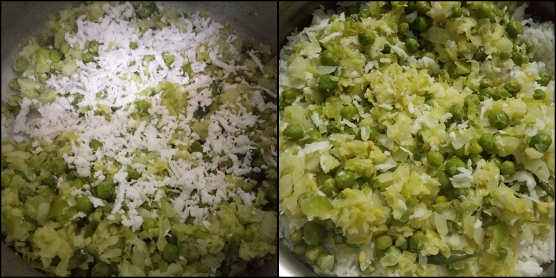 Cabbage peas rice