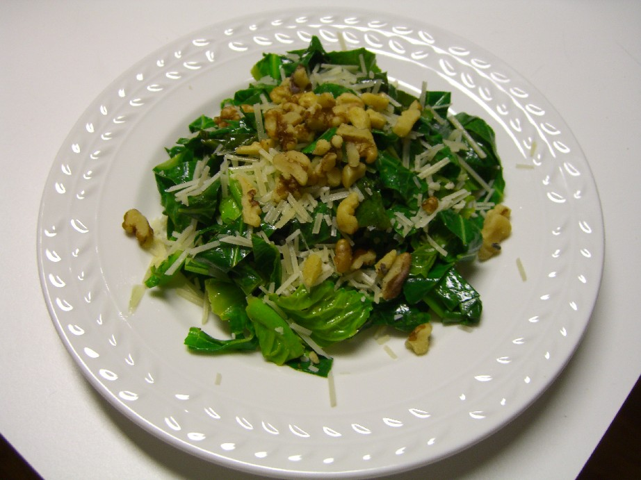 Collard greens with parmesan and walnuts