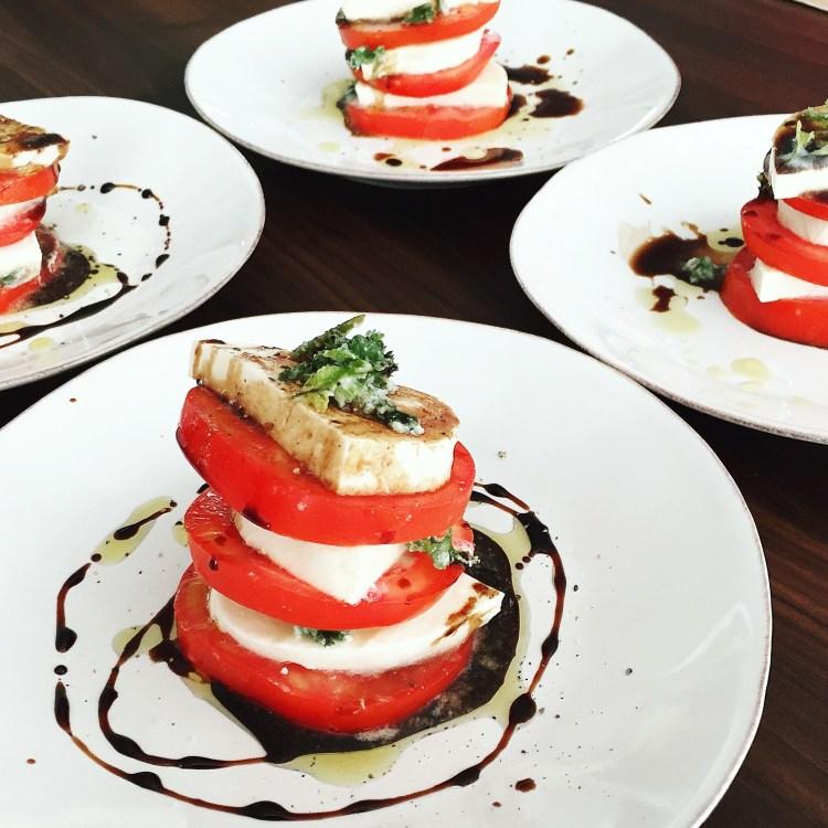 Mozzarella Caprese Salad with Espresso Infused Balsamic Reduction