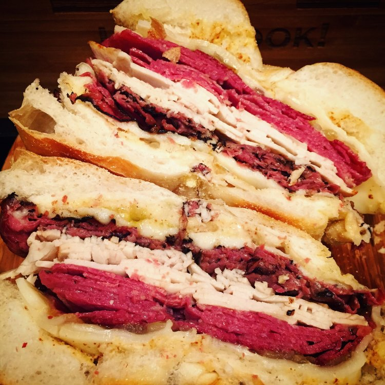 Triple Meat NYC Deli Sandwich Recipe:  Turkey, Corned Beef, & Pastrami