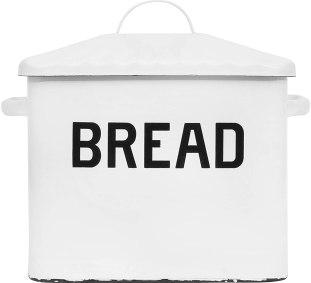 Creative Co-Op Enameled Metal Handles Rustic Farmhouse Bread Box