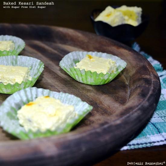 Baked Kesari Sandesh with Sugar Free Diet Sugar