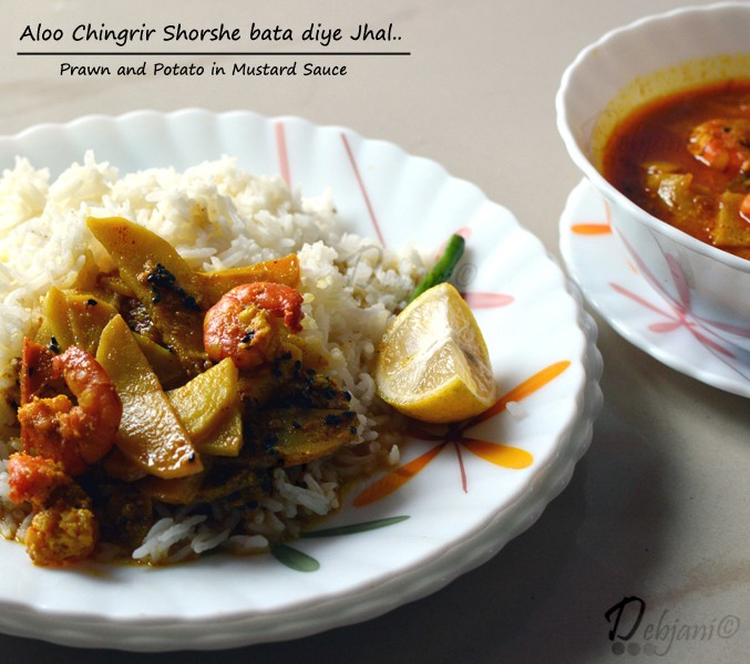 Aloo Chingrir Shorshe Bata Diye Jhal | light Mustard based curry with Prawn and Potato Wedges