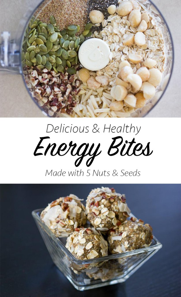 Energy Bites Recipe: Easy recipe made with 5 nuts & seeds. All natural & wholesome ingredients & made in minutes using a food processor. Delicious & healthy