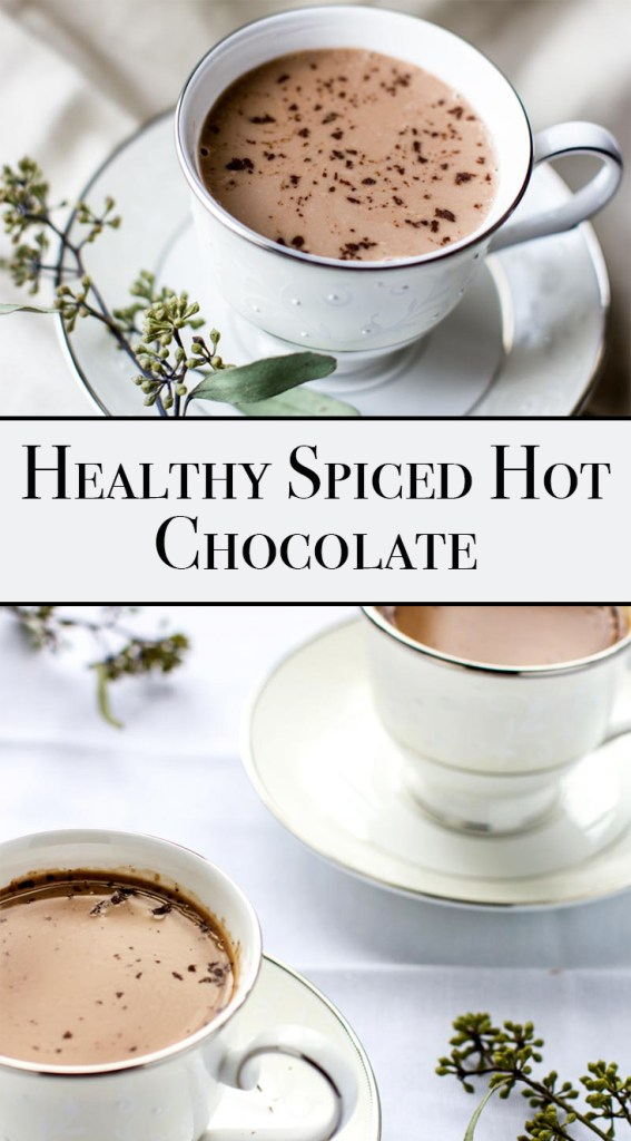 healthy hot chocolate recipe - spiced! Vegan, dairy-free! This is a winter comfort beverage at it's finest. It's creamy, sweet, chocolatey and nicely spiced.
