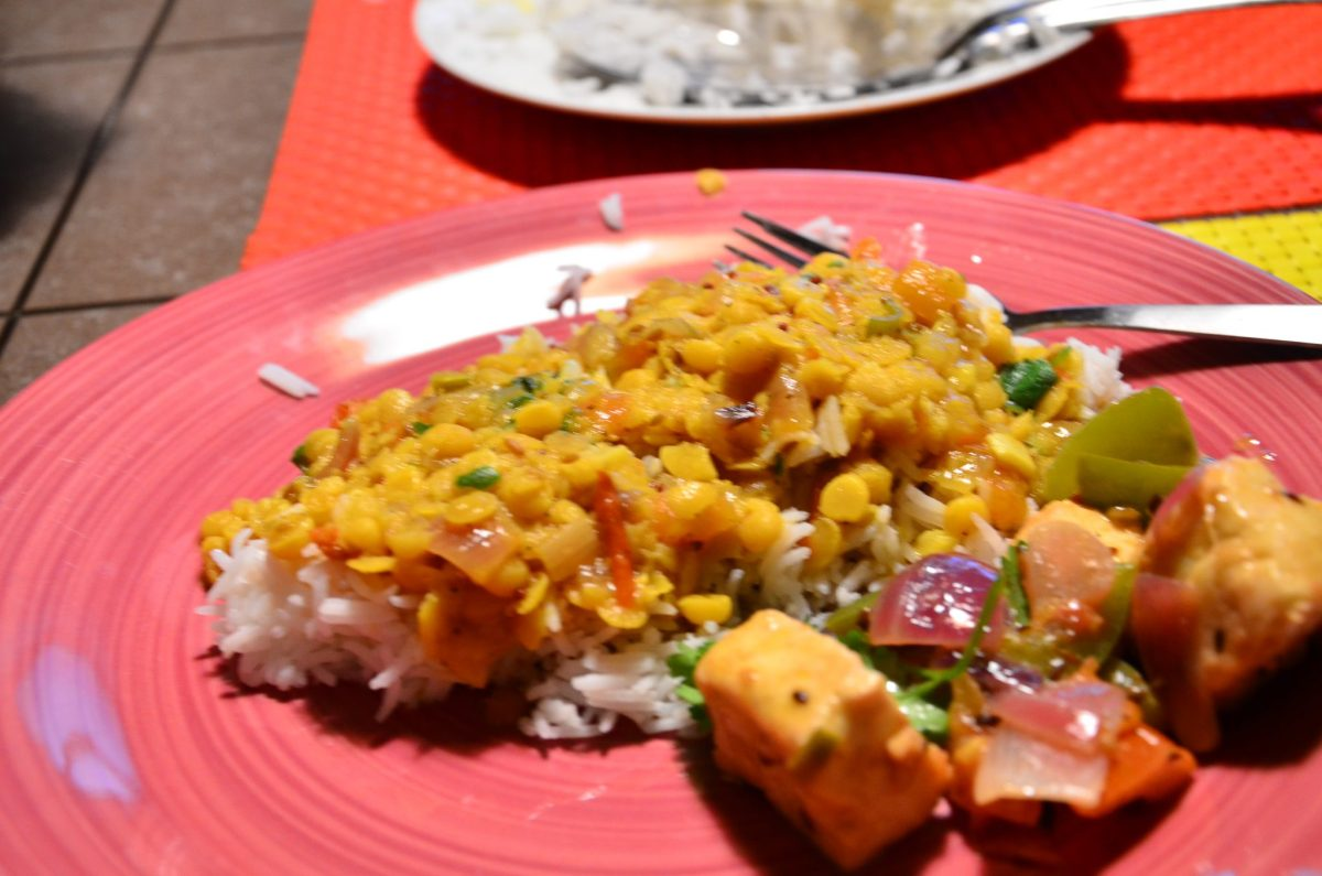 Quick Indian Dinner - moong masoor dal with rice and paneer