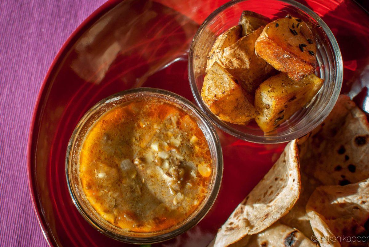 Dhaba dal, jeera aloo and tawa roti recipe